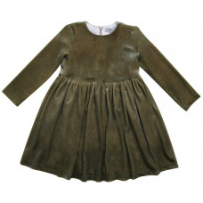 Платье бархатное, хаки