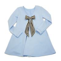 Платье из голубого футера с бантом на спине