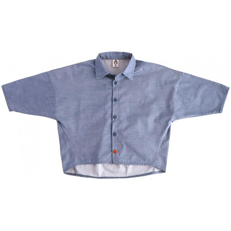 Рубашка унисекс, синяя джинс
