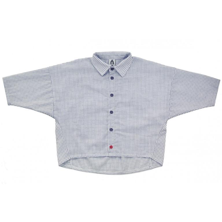 Рубашка унисекс, синяя в клетку + красная пуговица