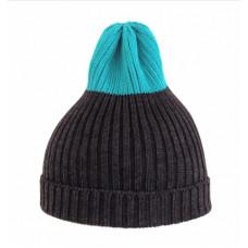 Шапка вязаная Tamanegi, антрацит/голубой