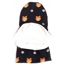 Утепленная шапка и снуд TIGERS BLACK