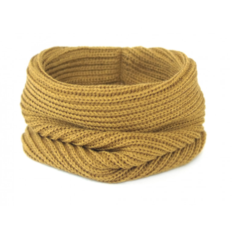 Вязаный шарф-снуд, горчичный