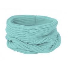 Вязаный шарф-снуд, лазурно-бирюзовый, светлый