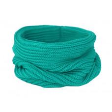Вязаный шарф-снуд, лазурно-бирюзовый, темный