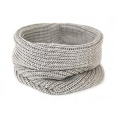 Вязаный шарф-снуд, серо-бежевый