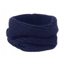 Вязаный шарф-снуд, тёмно-синий