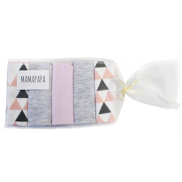 Набор платочков-слюнявчиков Треугольники для девочки