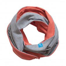Двухсторонний шарф-снуд, коралловый
