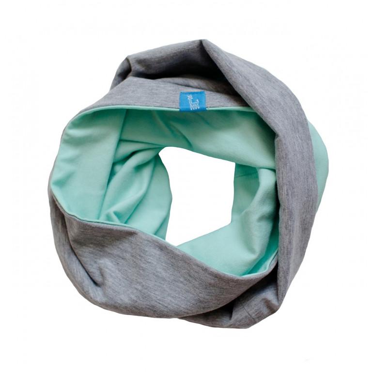 Двухсторонний шарф-снуд, мятный