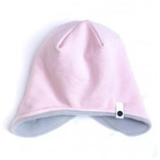 Двухсторонняя шапка, розовая с серым