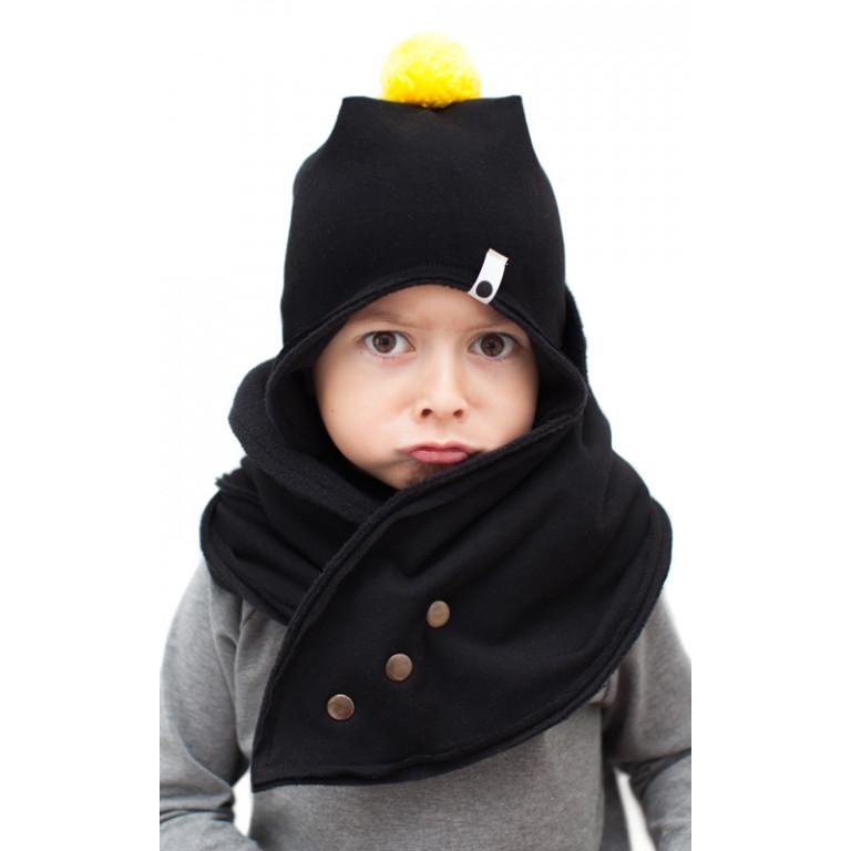 Флисовая шапка с помпоном, черная