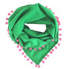 Косынка с помпонами, зеленая