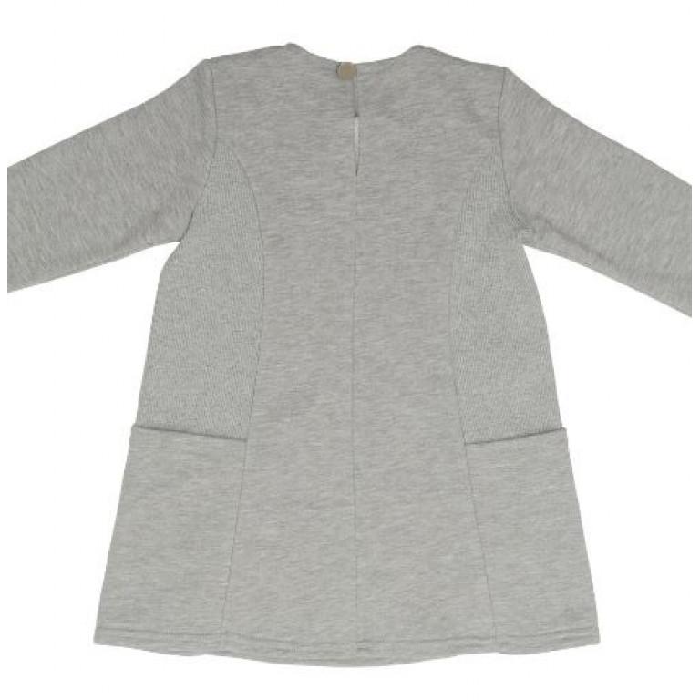Платье с асимметричным воротником, серое