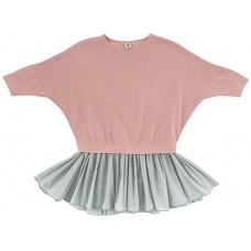 Платье с шифоновой юбочкой, розовое