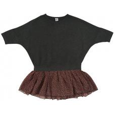 Платье с шифоновой юбочкой, темно-серый меланж
