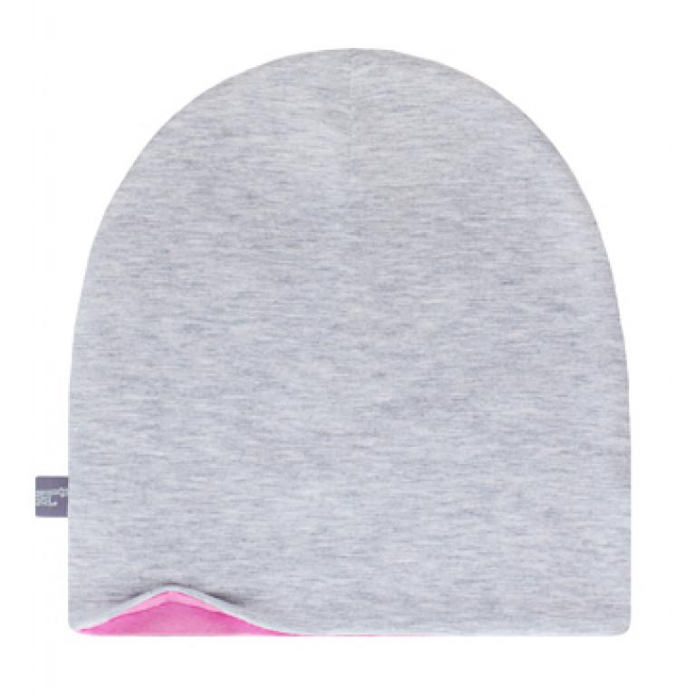 Шапки Family look двухсторонние, серый меланж+розовый