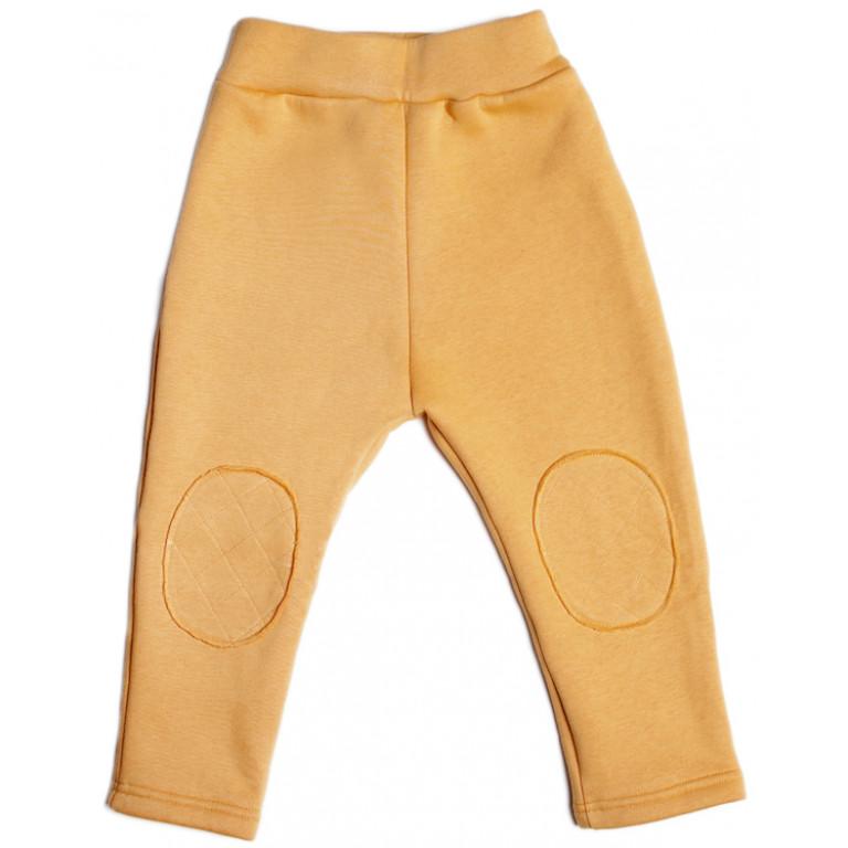 Тёплые штаны с заплатками, желтые