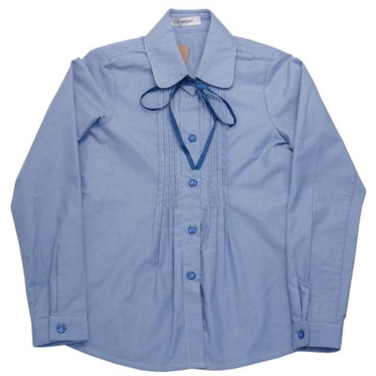 Блузка голубая с защипами на лифе