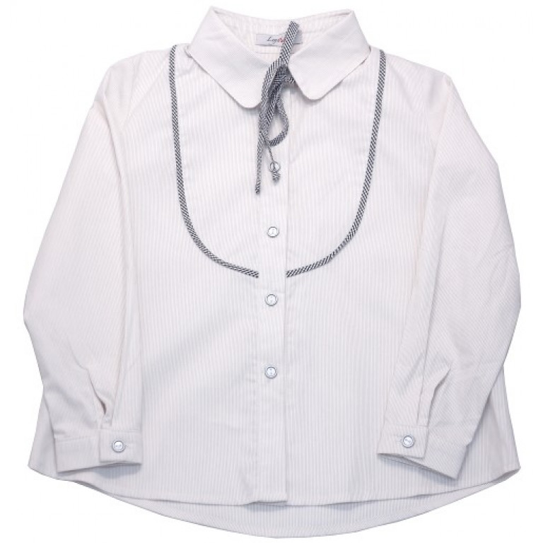 Блузка светло-серая с кокеткой и бантом