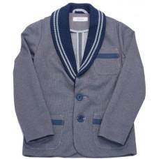 Пиджак для мальчика, серый с вязаными вставками
