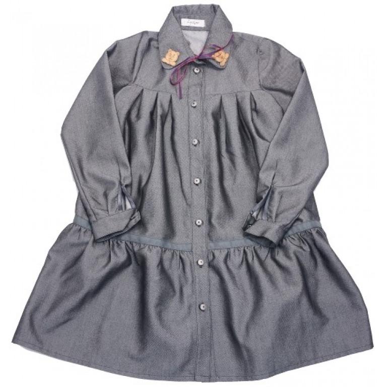 Платье рубашка с оборкой и декором на воротнике, серое