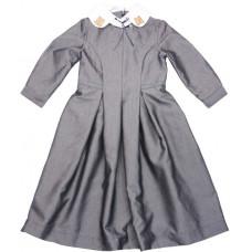 Платье со съемным  декорированным воротником, серое